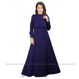 Gamis Busui Friendly Warna Navy Blue Bahan Jersey Korea Tampak Depan