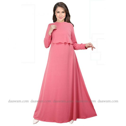 Gamis Busui Friendly Warna Salem Bahan Jersey Korea Tampak Depan
