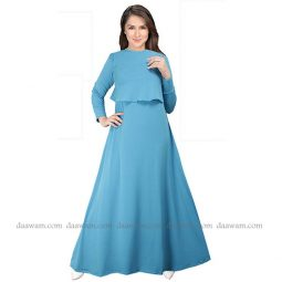Gamis Busui Friendly Warna Turkish Bahan Jersey Korea Tampak Depan