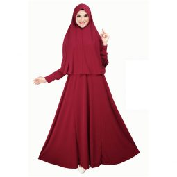 Long Dress Muslim Warna Maroon Bahan Jersey Korea Polos Tampak Depan